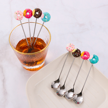 Dinnerware Flatware Dessert Spoon Donut Stainless-Steel Fork Kitchen-Supplies Kids Cute