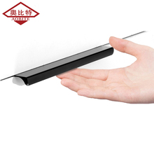 AOBITE Black Long Invisible Handle 120mm Aluminum Wardrobe Door Dark Cabinet Hidden Knob Wholesale 9003