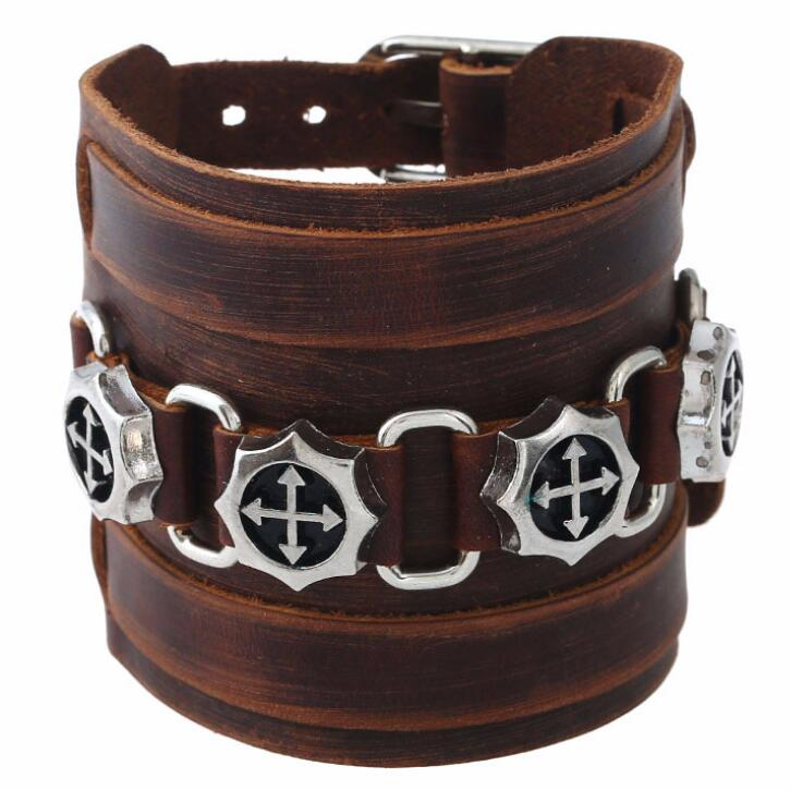 Genuine Soft Leather Strap Cuff Studded Bracelet with Cross Detail