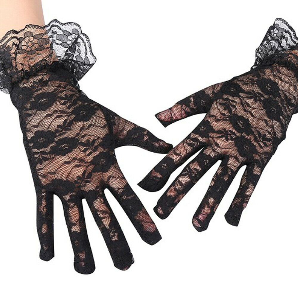 Brand Lace Gloves Women 2019 Vintage Elastic Sun Protection Solid Sunscreen Summer Gorgeous Pink Finger Gloves Accessories Sexy