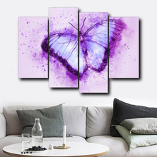 Laeacco Canvas Calligraphy Paintings 4 Panel Watercolor Butterfly Posters and Prints Wall Art Picture For Living Room Home Decor