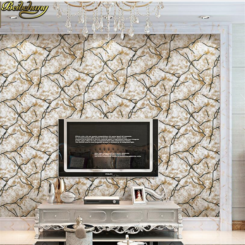 beibehang Simple modern 3D stereoscopic nonwovens Wallpaper Living room TV Walls Walls Relief Wall paper Marble papel de parede