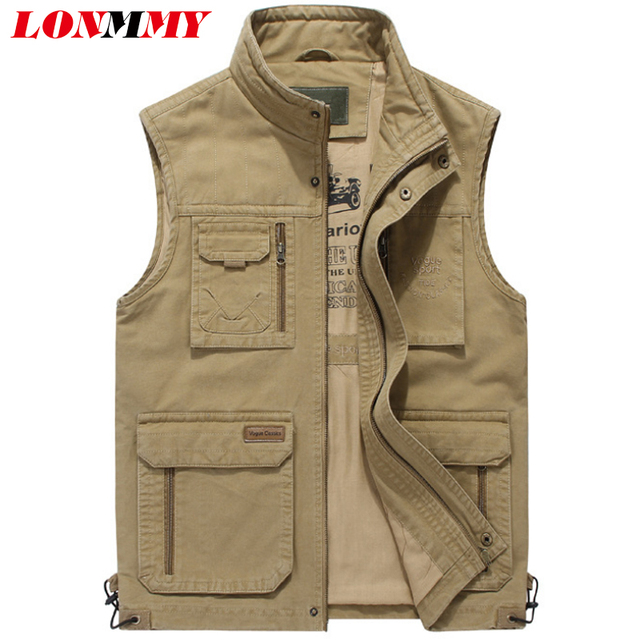 a6286b9fed0e9 LONMMY Vests male with many pockets Sleeveless jacket mens vest Cotton Army  green Khaki Military style chalecos para hombre New