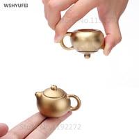 WSHYUFEI Mini can raise teapot Fingertip Inverted Xi Shi Sheet metal Small Pocket Teapot Tea set Tea pet Decoration