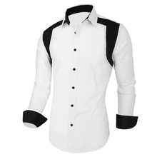 Men Shirt Tuxedo Designer Contrast Color Classic Simple Male Clothes White Royal Blue Turn-down Men's Clothing Accessories