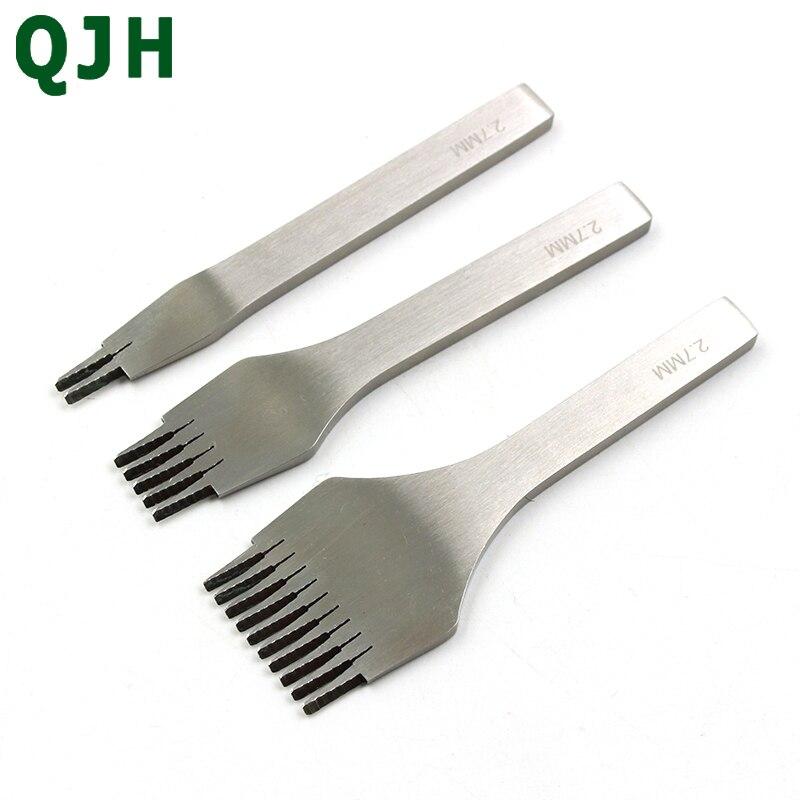 Nouveau 3 pcs/ensemble 4 taille (2.7 3.0 3.38 3.85) mm Blanc Acier travail manuel Trou Poinçon Couture Artisanat En Cuir outil Sculpture Cornedrue (2 + 5 + 10) dents