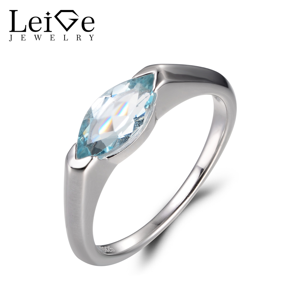 LeiGe Jewelry Natural Blue Aquamarine Rings Engagement Rings March Birthstone Rings Marquise Cut Blue Gems 925 Sterling Silver