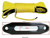 Yellow 5mm 15m ATV Winch Line With 4000lbs Aluminium Hawse Fairlead Synthetic Winch Rope 5mm ATV
