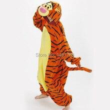 Kigurumi güzel kaplan Onesie kostüm Cosplay kış pijama Tigger pijama Sleepsuit pijama
