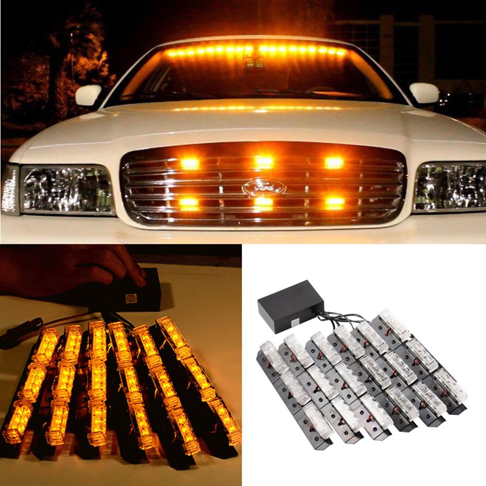 US $44 82 17% OFF|Car Styling LED Warning Light Yellow Car Truck Strobe  Emergency Bars Deck Dash Grill-in Car Headlight Bulbs(LED) from Automobiles  &