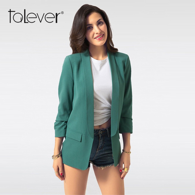 Весна для женщин Блейзер Куртка Мода 2018 бренд ни кнопки работы офисный костюм для дам повседневное Тонкий Бизнес женский пальто Talever
