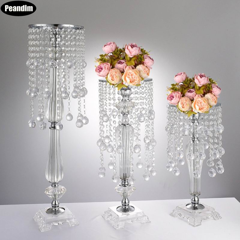 Peandim 70cm Height Acrylic Wedding Centerpiece Candelabra Bridal Road Lead Party Event Flower Rack Decoration 10pcs/lot Harmonious Colors Home Decor Candles & Holders