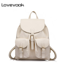 LOVEVOOK Brand Preppy Style School Backpack Artificial Leather Fashion Women Shoulder Bag With Two Solid Pocket For Teens Girls(China)