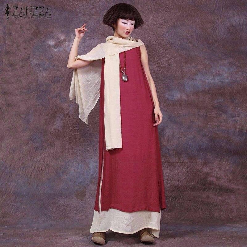 ZANZEA Women 2016 Summer Retro Casual Loose Sleeveless Dress Sexy Female O Neck Boho Splicing Long Maxi Dresses Oversized