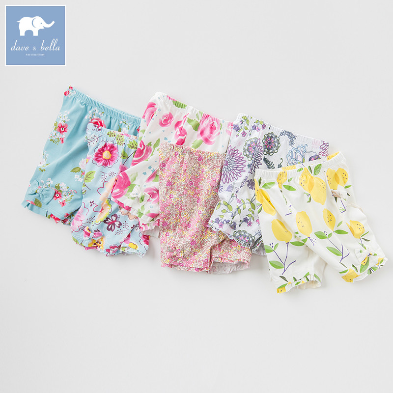 DB1225 dave bella summer baby girls shorts infant pants toddle clothes girl floral cotton trousers kids shorts child pants