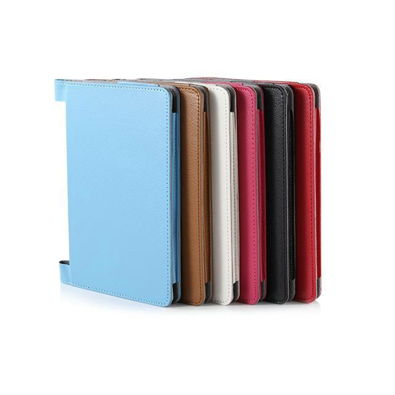 New Luxury 2-Folding Leeche Folio Stand PU Leather Case Protective Cover For Lenovo