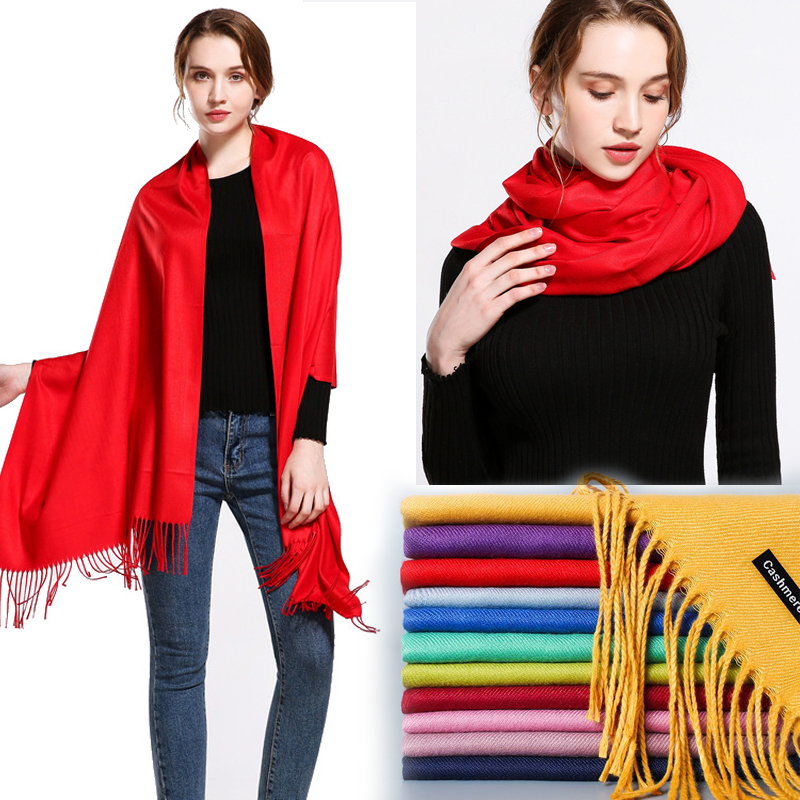 classic spring/winter scarves for women Soft warm shawls and wraps fashion solid female hijab stoles pashmina cashmere foulard