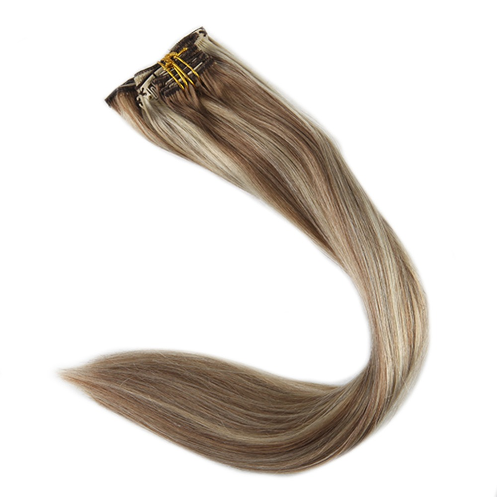 Full Shine Clip In Real Hair Extensions Double Wefted Blond Roots Color 10 And 613 Blonde Highlighted 100g Remy Hair With Clips