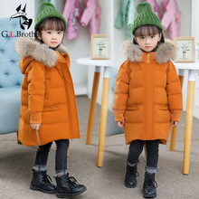 1-6 Years Kids Girls Winter Coat Thick Warm Girl Outwear Coat Down Jacket Natural Fur Hooded Children Snowsuit Long Parkas Z132