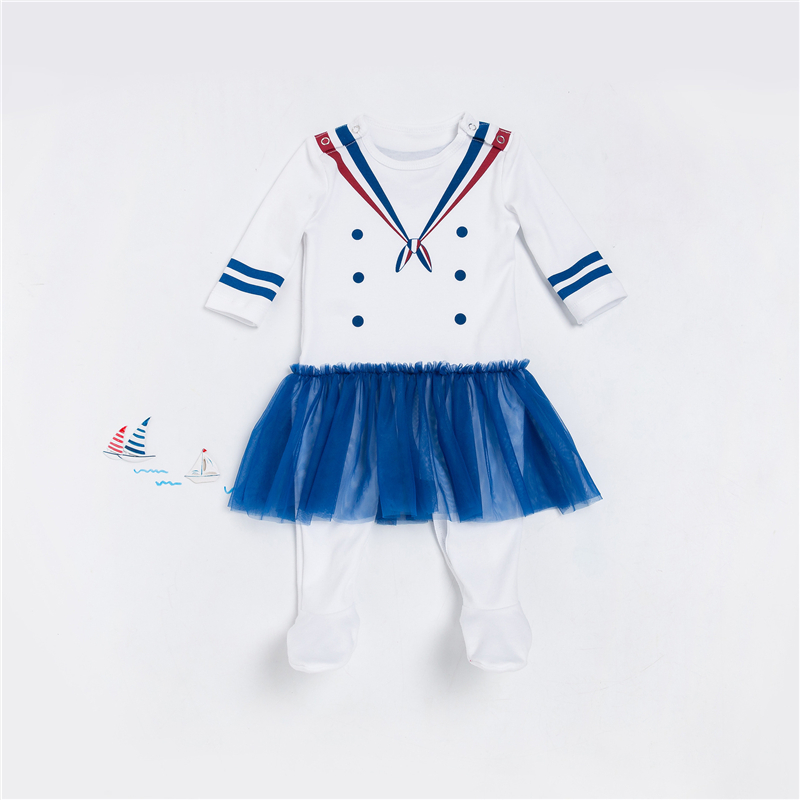 Newborn Romper White Navy Sailor Uniforms Overalls Baby 2017 Autumn/winter Tutu Lace Long Sleeve Jumpsuit and hat Girl Clothes