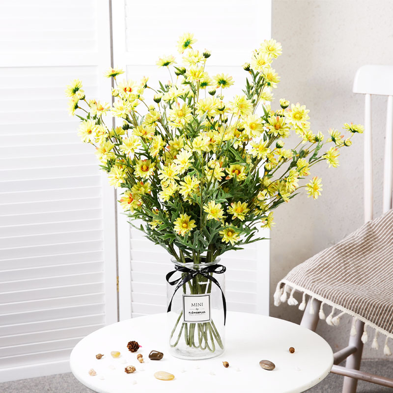 Yumai 75cm Long Stem Yellow Daisy Flowers Artificial Decoration For Home Table Chrysanthemum Faux Silk Flower Garden Crafts