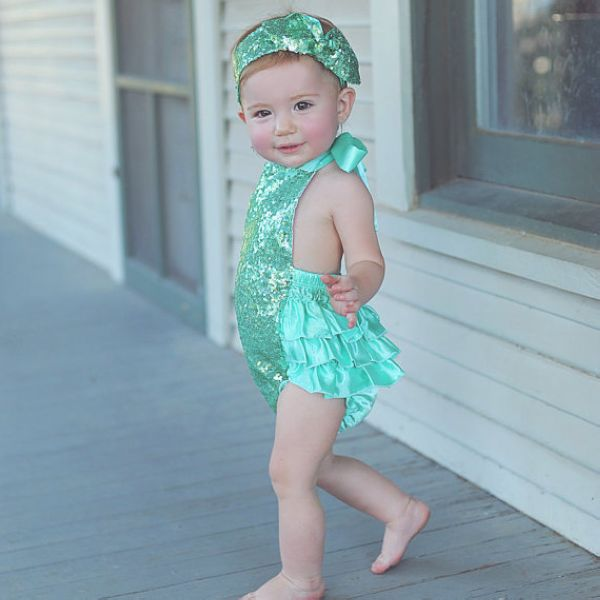 71ab537a508 girls bubble sequin romper headband Mermaid Sequin baby romper glitter  ruffle sunsuit