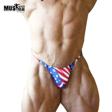Mens Bikini Briefs with American Flag Printing G-String Posing Trunks Sexy Beach