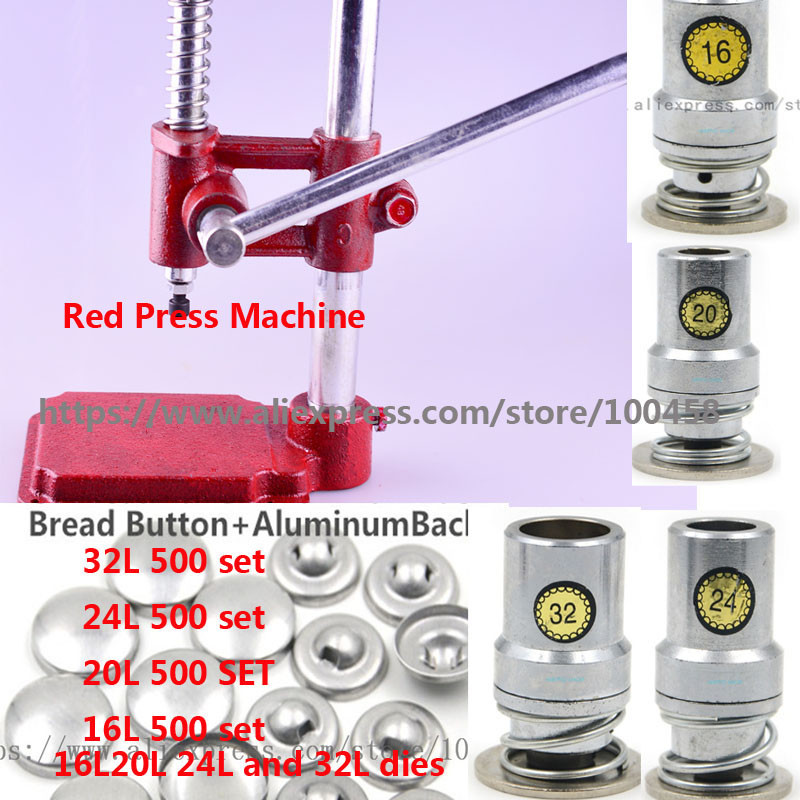 Fabric Covered Button Press Machine/Maker + 16L20L24L 32L Fabric Self Cover Button Dies Mold Tools +2000 Set Button