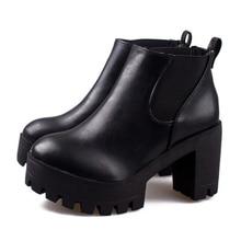 Pop Sale Women's Black Platform Ankle Boots Thick High Heels Martin Boots Fashion Spring Autumn Woman Shoes WSH368