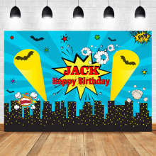 Superhero Birthday Backdrop Party Decoration Photo Backdrops City Cityscape Photography Background for Child
