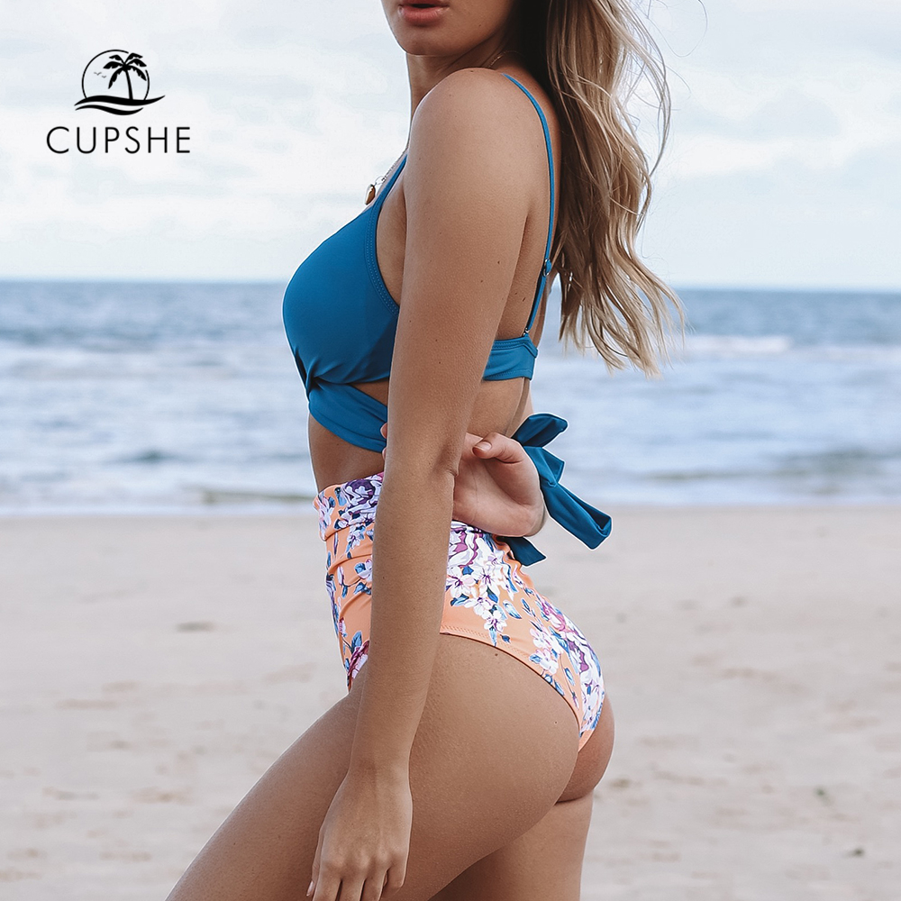 CUPSHE Blue Wrap And Floral High-waisted Bikini Sets Women Sexy Push Up Two Pieces Swimsuits 2020 Girl Beach Bathing Suits 3