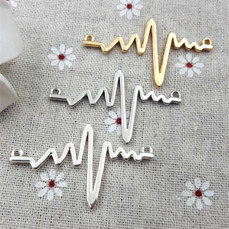 High Quality 5 pcs/lot Antique Silver Plated Heartbeat line Charms Golden Silver White ECG Pendants For Necklace Bracelet Making