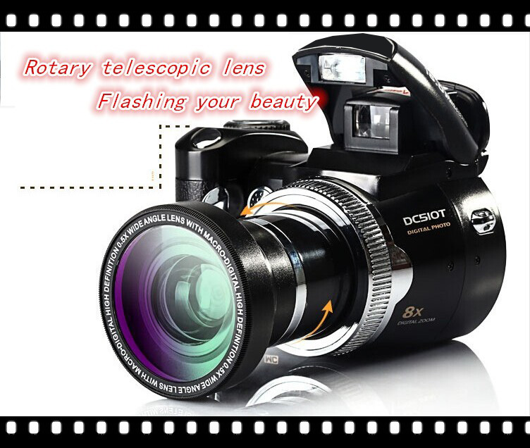 "Max 16MP Photographing DSLR Digital Camera DC-510T 8x Digital Zoom 5.0MP CMOS Photo Camera 2.4""LCD Display DVR With Wide Lens"