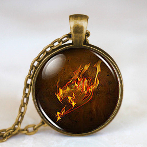 Steampunk Anime Fairy Tail Guild Marks Fire Wing Pendant mens Necklace doctor dr who 1pcs/lot chain men jewelry women new chain