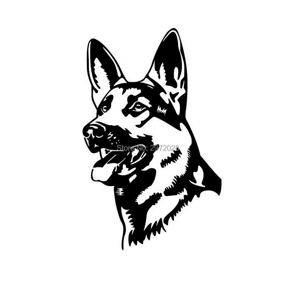 10 X Funny Animal Car Styling German Shepherd Dog Alsation Dog Waterproof Reflective Vinyl Auto Decal Cartoon Car Stickers