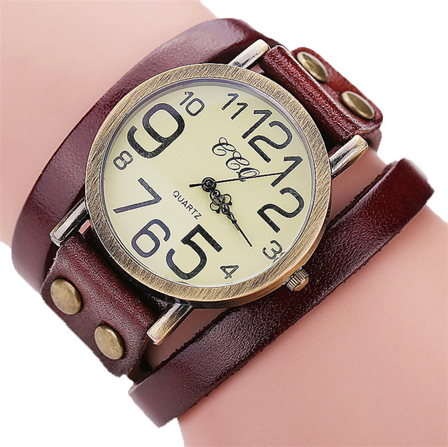 Luxury Brand Vintage Cow Leather Bracelet Watch Men Leather Bamboo Watch Womens