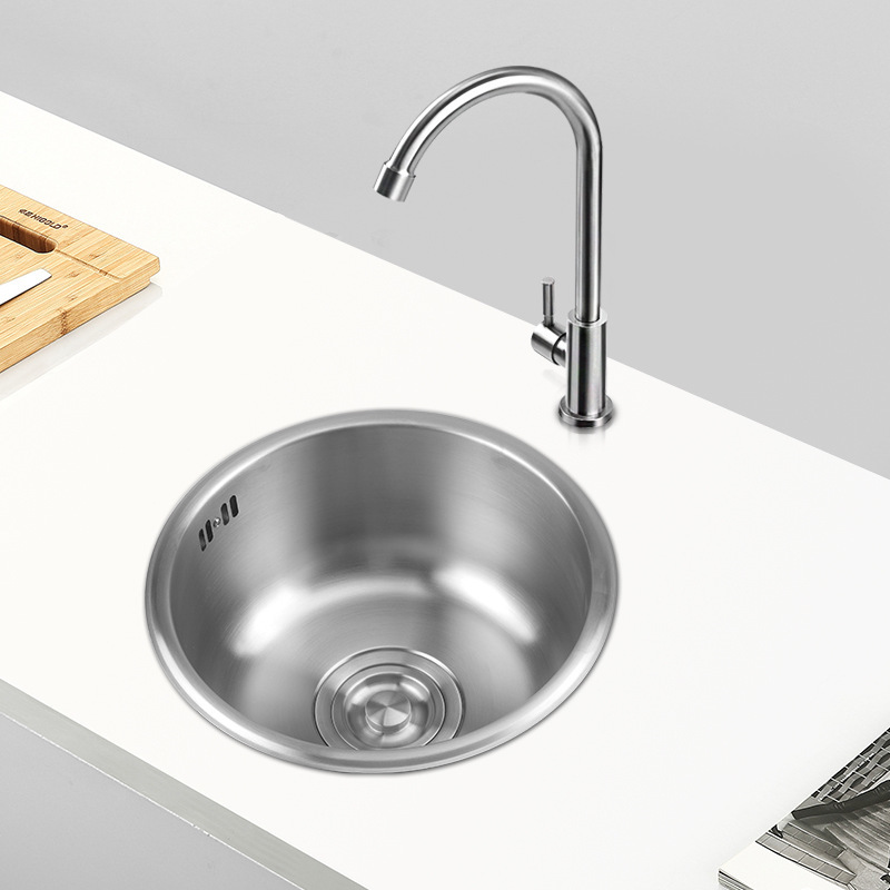 304 stainless steel bar round small single slot package thickening balcony kitchen sink mini basins pool single bowl