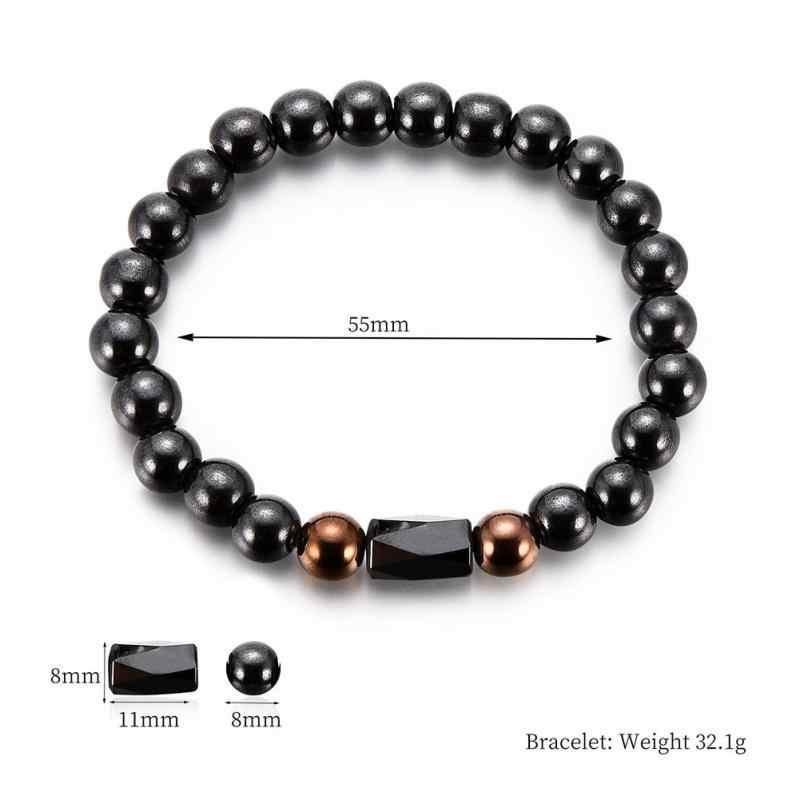 Простой потери веса круглый черный камень браслет для магнитотерапии здоровья Магнитный гематит стрейч браслет для мужчин и женщин