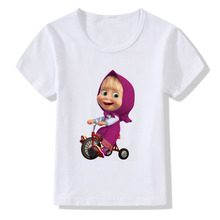 Summer Childrens Masha Print T-shirt Baby Boy Girl Short-sleeved Love Bear Pretty Shirt Clothes masha and bear t shirt