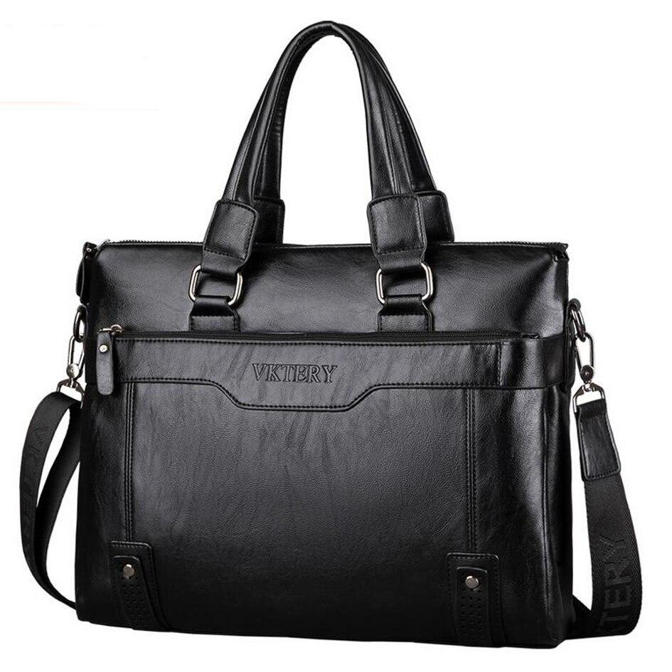 ФОТО New VKTERY briefcase handbag pu leather man Crossbody bag man's laptop bag briefcase