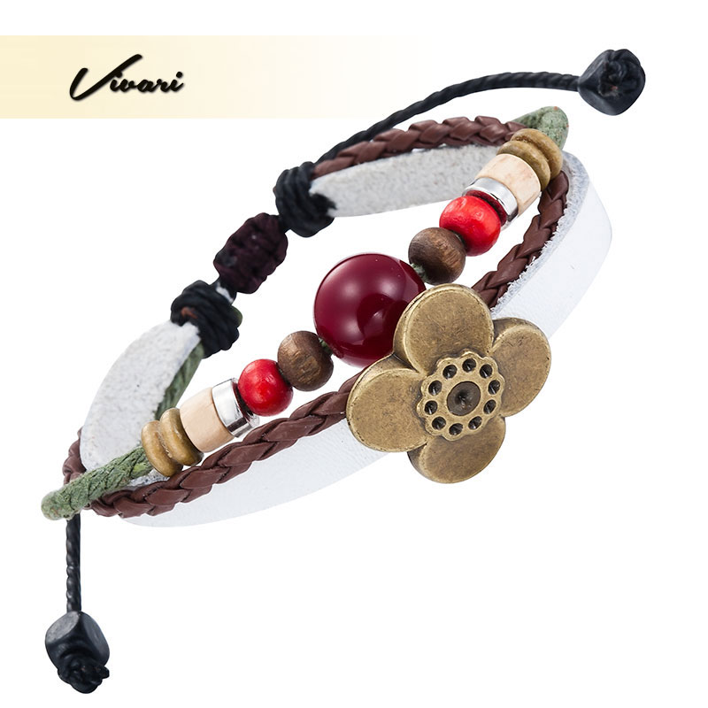 Vivari 2017 Classic Women Bangle Zinc Alloy Flower Shape Unisex fashion Men Bracelet Purple Ball Accessories Air Mail