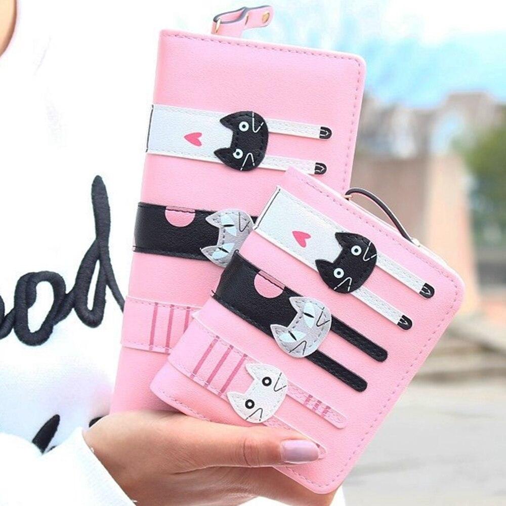¡Caliente vender! Nueva moda de mujer gato cartera larga y corta de dibujos animados mujeres titular de la tarjeta de dama embrague bolso mujer cremallera notecase