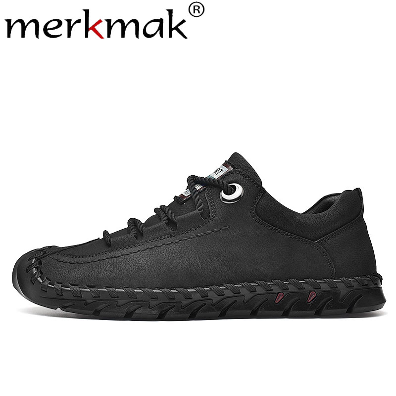Merkmak Men Shoes Spring Comfortable Flat Outdoor Fashion New Anti-Skid Solid Weaving