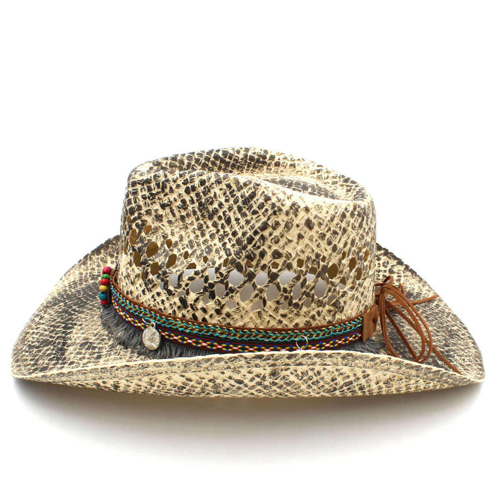 Модная женская соломенная ковбойская шляпа в ковбойском стиле; Летняя женская плетеная шляпа в ковбойском стиле ручной работы; Bohemian Tassel Ribbon; Размеры 56-58 см