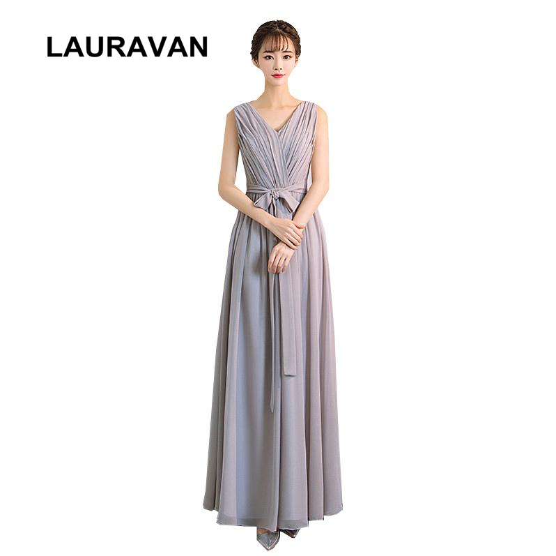 Robe Longue Femme Soiree Mariage V Neck Grey Ladys Bridesmaid Dresses Made In China Long Party Dress Formal Gown For Weddings