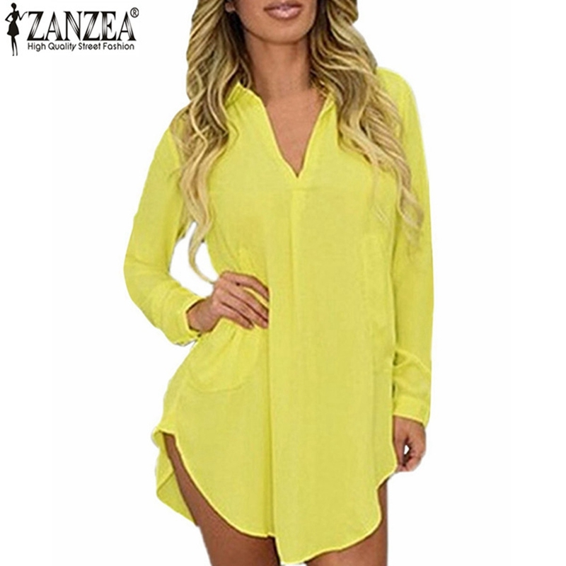 Kvinnor Casual Loose Long Chiffon Shirts 2018 Spring Long Sleeve Down Collar Sexiga Blusar Toppar Plus Storlek Mini Dress Vestidos