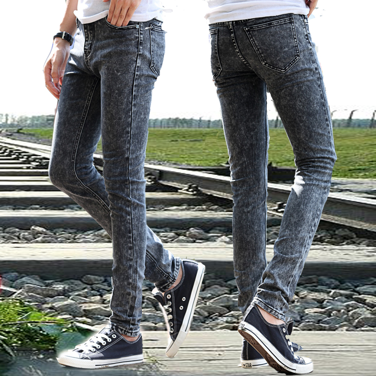 Summer male jeans black jeans skinny jeans the boys teenage elastic pencil  pants tight-in Jeans from Men's Clothing & Accessories on Aliexpress.com ... - Summer Male Jeans Black Jeans Skinny Jeans The Boys Teenage