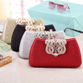 Crown Metal Rhinestones Women Evening Bags Small Purse Day Clutches Messenger Chain Shoulder Bag Gold/Black/Silver/Red Mix Color