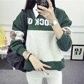 Barato 2016 mujeres Del invierno Del Otoño hoodies Ocasionales Cartas Impreso O-cuello de manga Larga Con Capucha, Además de terciopelo chándal Caliente 2XL