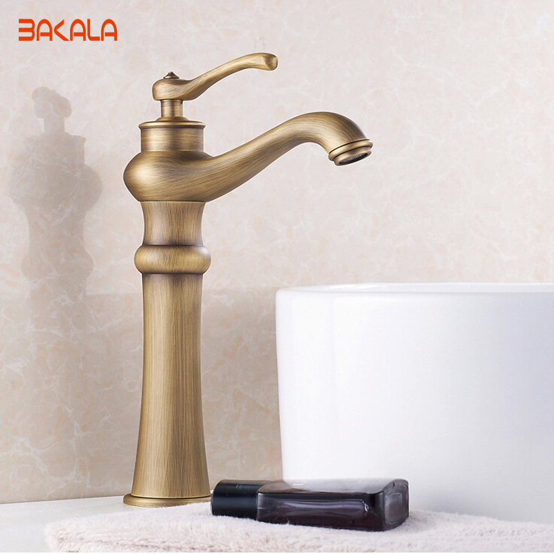 ФОТО Fitting Luxury Decoration Bathroom Basin Sink Antique Faucet with Brass Body and Bronze Brushed Surface Mixer Tap GZ-8128